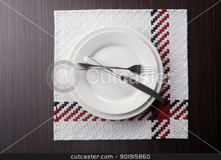 cutlery stock photo, Fork and knife and white plate by eskaylim