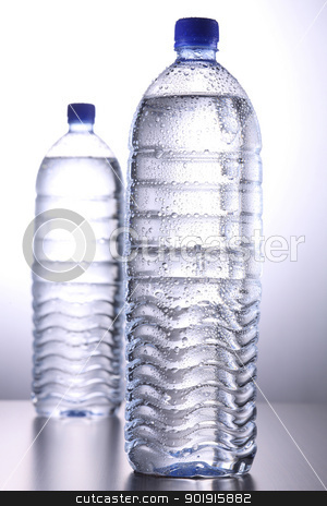water stock photo, close up of the mineral bottle bottle with condensation by eskaylim