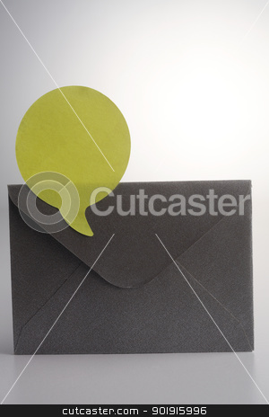 envelope stock photo, yellow speech bubble on the envelope by eskaylim