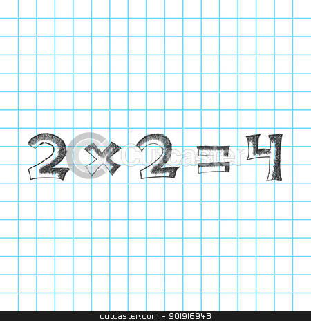 Mathematics sketch stock photo, Solution is simple math problem on the blackboard. Hand drawn numbers by Imaster