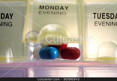 pill box stock photo, clocse up of the daily pill box by eskaylim