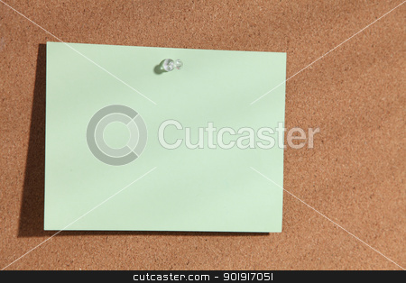 blank paper stock photo, Note paper on cork bulletin board by eskaylim