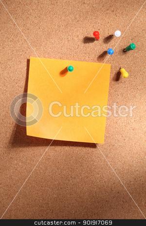 blank note stock photo, Note paper on cork bulletin board by eskaylim
