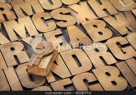 question mark and alphabet stock photo, question mark and alphabet in vintage letterpress wood type by Marek Uliasz