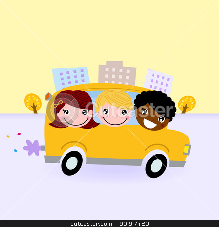School bus with kids driving through town stock vector clipart, Happy kids traveling with School bus. Vector Illustration by Jana Guothova