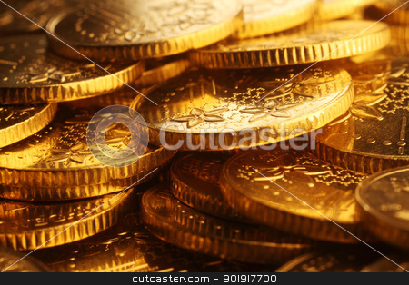gold coins stock photo, close up of the gold coins  by eskaylim