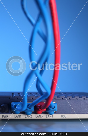 ethernet cable stock photo, close up of the Ethernet Cables Plugged into Router by eskaylim