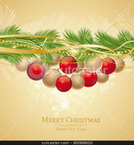 Christmas background stock vector clipart, Christmas background decorated with branches  by Miroslava Hlavacova
