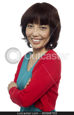Side pose of smiling asian woman, arms crossed stock photo, Side pose of smiling asian woman, arms crossed. Isolated on white by Ishay Botbol