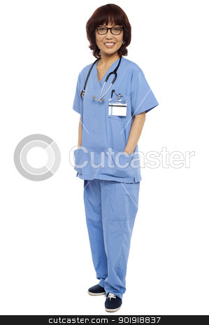 Asian surgeon posing with hands in her uniform stock photo, Asian surgeon posing with hands in her coat pocket isolated against white by Ishay Botbol