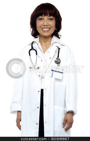 Experienced doctor with stethoscope around her neck stock photo, Experienced female doctor with stethoscope around her neck. Isolated and smiling by Ishay Botbol
