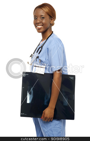 Nurse carrying x-ray reports to doctor stock photo, Nurse carrying x-ray reports to doctor. Looking at camera and smiling by Ishay Botbol