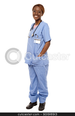 Medical expert posing with hands in her uniform stock photo, Medical expert posing with hands in her uniform isolated over white background by Ishay Botbol