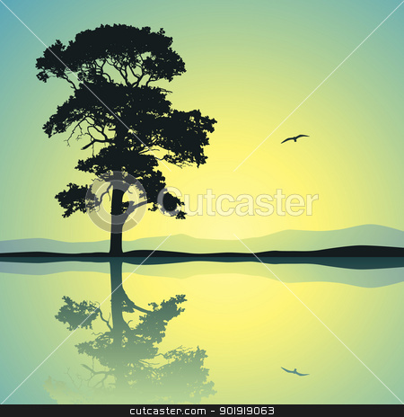 Lone Tree stock vector clipart, A Single Tree Standing Alone with Reflection in Water by Binkski Art