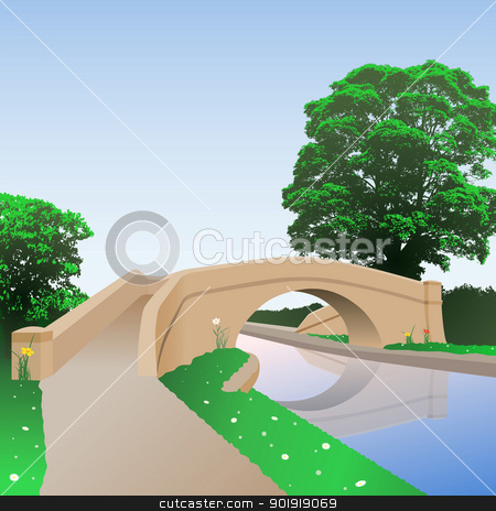 Canal Bridge stock vector clipart, A British Canal Bridge with Towpath by Binkski Art