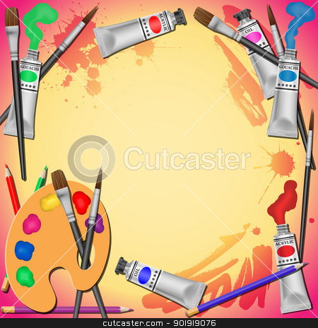 Art Equipment Background stock vector clipart, A Border Background Vector Illustration with Paint Tubes, Brushes and Pencils by Binkski Art