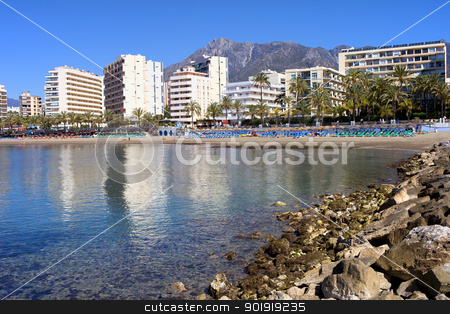 City of Marbella Bay in Spain stock photo, Popular resort city of Marbella on Costa del Sol in Spain, Andalucia region, Malaga province. by Rognar