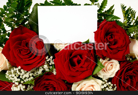 Flowers and card stock photo, Bouquet of rose flowers with a blank gift card, write your own tekst. by Lars Christensen