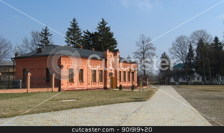 Stylish building of red color stock photo, Stylish building of red color and path near it by Alexander Matvienko