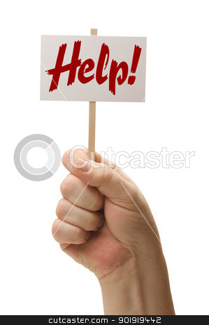 Help Sign In Fist On White stock photo, Help Sign In Fist Isolated On A White Background. by Andy Dean