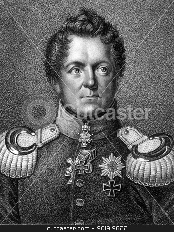 August Neidhardt von Gneisenau stock photo, August Neidhardt von Gneisenau (1760-1831) on engraving from 1859. Prussian field marshal. Engraved by Falcke and published in Meyers Konversations-Lexikon, Germany,1859. by Georgios Kollidas