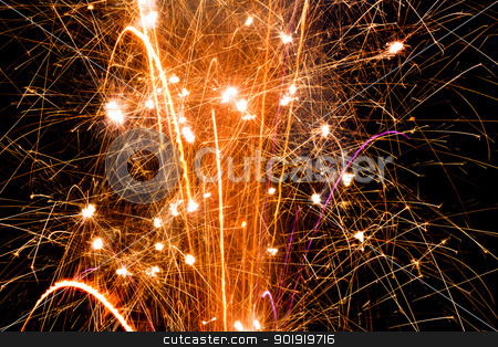 Sparkles, pops, and fireworks stock photo, Close up of a firework fountain by txking