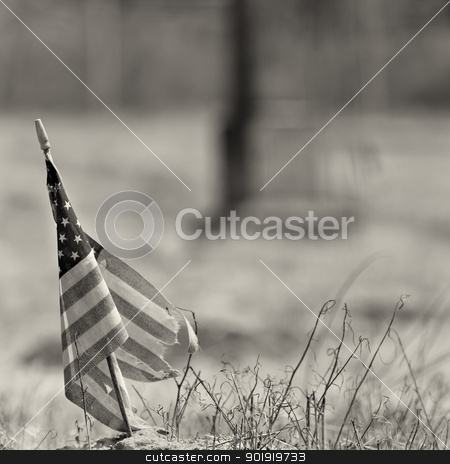 Black and white photo of a worn out american flag stock photo, Tattered american flag taken at and old cemetary with monument in background. shallow field of fiew with focus on flag by txking