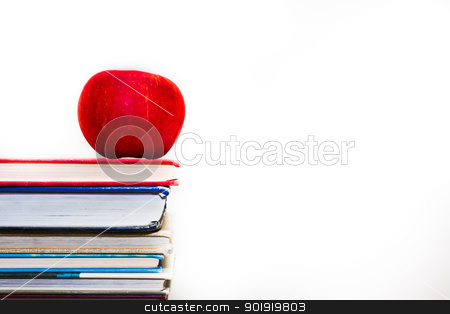 It's time for study and I have my books stock photo, Stack of books with a single red apple on top by txking