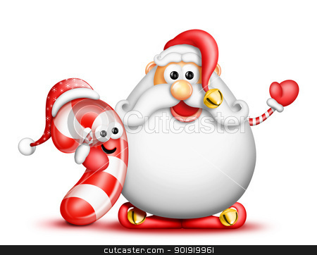 Whimsical Cartoon Big Beard Santa and Candy Cane stock photo, Whimsical Cartoon Big Beard Santa and Candy Cane by Bill Fleming