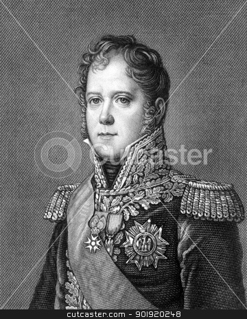 Michel Ney stock photo, Michel Ney (1769-1815) on engraving from 1859. French soldier and military commander during the French Revolutionary Wars and the Napoleonic Wars. Engraved by unknown artist and published in Meyers Konversations-Lexikon, Germany,1859. by Georgios Kollidas