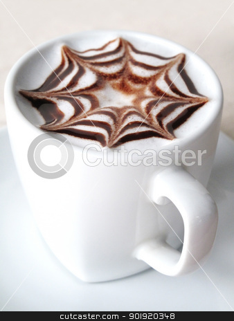 Fancy Coffee in a white cup stock photo, Fancy Coffee in a white cup by buk_champ