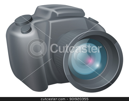 Cartoon camera illustration stock vector clipart, An illustration of a cartoon DSLR style camera by Christos Georghiou