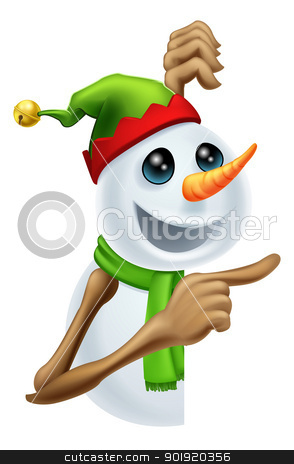 Christmas snowman pointing stock vector clipart, Illustration of a cute happy Christmas snowman in pixie or elf hat pointing by Christos Georghiou