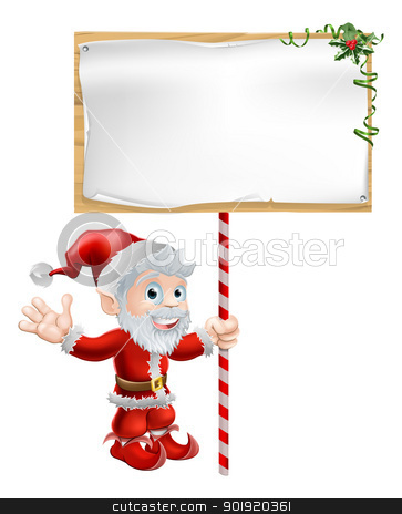 Santa Christmas Sign Illustration stock vector clipart, Christmas illustration of Santa Claus holding a large sign board  by Christos Georghiou