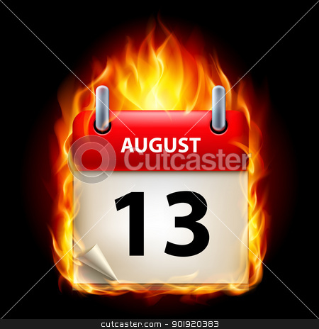 Burning calendar stock photo, Thirteenth August in Calendar. Burning Icon on black background by dvarg