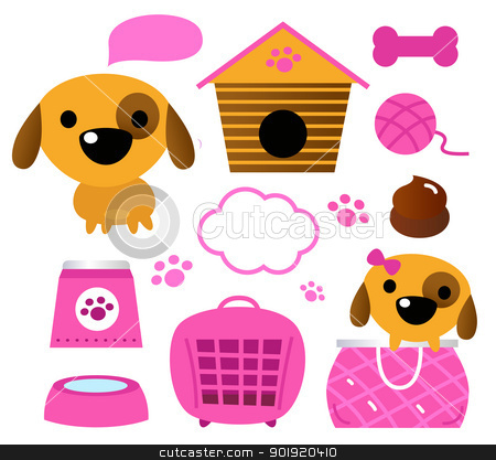 Cute dog accessories collection isolated on white stock vector clipart, Cartoon pink set for baby dog. Vector Illustration by Jana Guothova