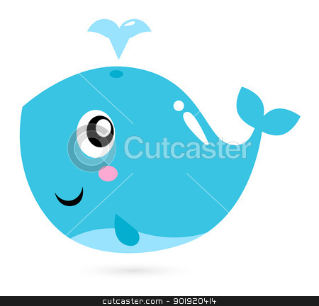 Blue cartoon whale isolated on white stock vector clipart, Happy underwater animal. Vector cartoon illustration by BEEANDGLOW
