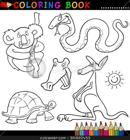 Animals for Coloring Book or Page stock vector clipart, Coloring Book or Page Cartoon Illustration of Funny Wild Animals for Children by Igor Zakowski