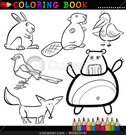 Animals for Coloring Book or Page stock vector clipart, Coloring Book or Page Cartoon Illustration of Funny Wild and Forest Animals for Children by Igor Zakowski