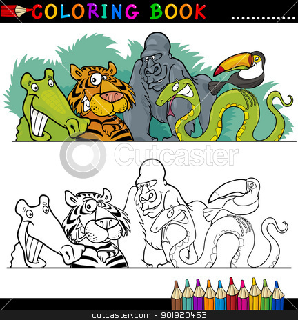 Wild Jungle Animals for Coloring stock vector clipart, Coloring Book or Page Cartoon Illustration of Funny Wild Animals for Children Education by Igor Zakowski