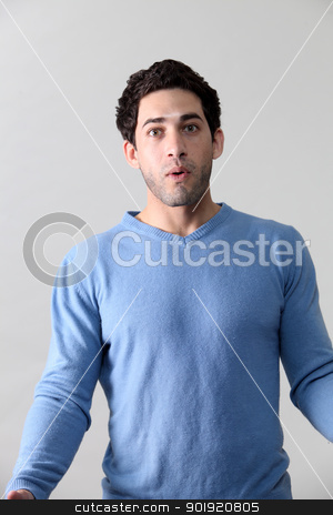 surprise stock photo, close up of the man with surprise by eskaylim