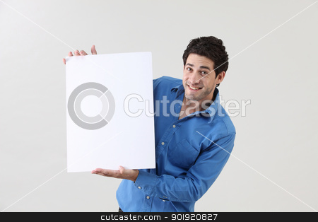 holding card stock photo, Man holding blank paper card board by eskaylim