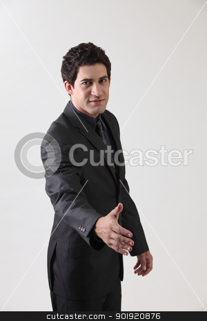 arn raised stock photo, business raised arm about doing a hand shake by eskaylim