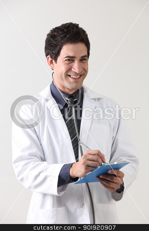 doctor stock photo, Confident doctor with smile  at white background by eskaylim