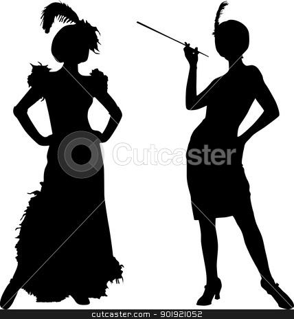 Silhouettes of women from cabaret stock vector clipart, Silhouettes of women with retro costumes from cabaret by Desislava Draganova