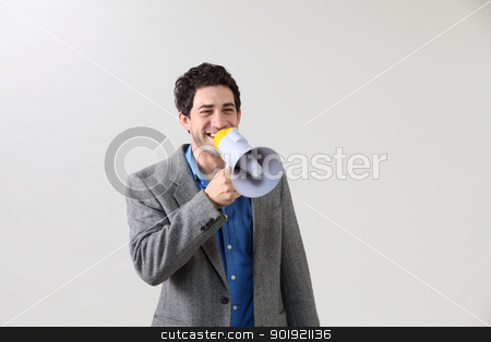 vioce out stock photo, Businessman shouting through megaphone by eskaylim