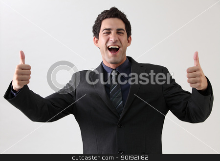 good stock photo, businessman with double thumb up by eskaylim