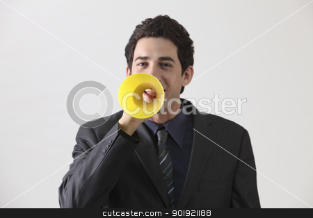 speak stock photo, Businessman with megaphone shouting by eskaylim
