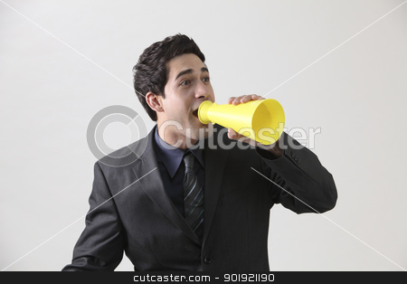 shout stock photo, Businessman with megaphone shouting by eskaylim