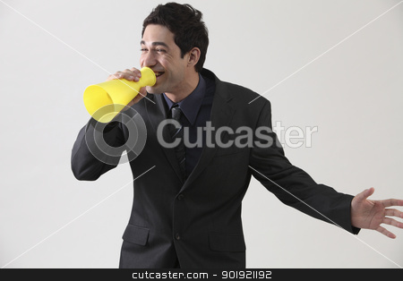 voice out stock photo, Businessman with megaphone shouting by eskaylim